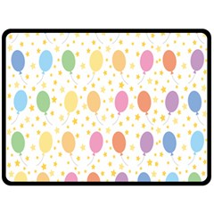Balloon Star Rainbow Fleece Blanket (large)  by Mariart
