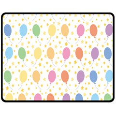 Balloon Star Rainbow Double Sided Fleece Blanket (medium)  by Mariart