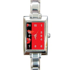 Flower Floral Red Back Sakura Rectangle Italian Charm Watch