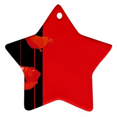 Flower Floral Red Back Sakura Ornament (star)