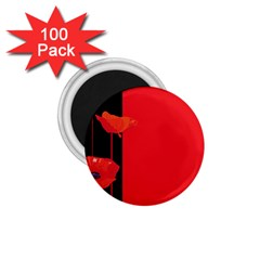 Flower Floral Red Back Sakura 1 75  Magnets (100 Pack)  by Mariart