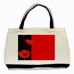 Flower Floral Red Back Sakura Basic Tote Bag by Mariart