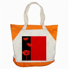 Flower Floral Red Back Sakura Accent Tote Bag by Mariart