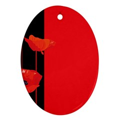 Flower Floral Red Back Sakura Oval Ornament (two Sides) by Mariart