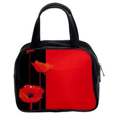 Flower Floral Red Back Sakura Classic Handbags (2 Sides) by Mariart