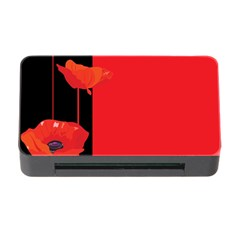 Flower Floral Red Back Sakura Memory Card Reader With Cf by Mariart