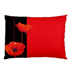 Flower Floral Red Back Sakura Pillow Case (two Sides)