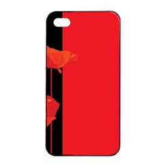 Flower Floral Red Back Sakura Apple Iphone 4/4s Seamless Case (black) by Mariart