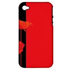 Flower Floral Red Back Sakura Apple Iphone 4/4s Hardshell Case (pc+silicone)