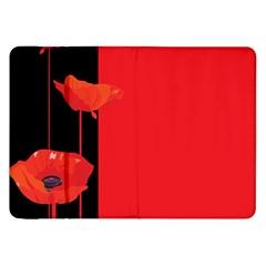 Flower Floral Red Back Sakura Samsung Galaxy Tab 8 9  P7300 Flip Case