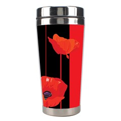 Flower Floral Red Back Sakura Stainless Steel Travel Tumblers by Mariart