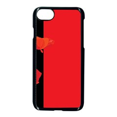 Flower Floral Red Back Sakura Apple Iphone 7 Seamless Case (black) by Mariart