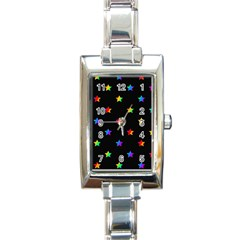 Stars Pattern Rectangle Italian Charm Watch by Valentinaart