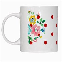 Flower Floral Polka Dot Orange White Mugs