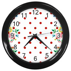 Flower Floral Polka Dot Orange Wall Clocks (black) by Mariart