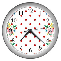 Flower Floral Polka Dot Orange Wall Clocks (silver)  by Mariart