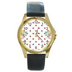 Flower Floral Polka Dot Orange Round Gold Metal Watch by Mariart
