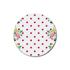 Flower Floral Polka Dot Orange Rubber Round Coaster (4 Pack)