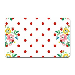 Flower Floral Polka Dot Orange Magnet (rectangular)