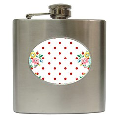 Flower Floral Polka Dot Orange Hip Flask (6 Oz)