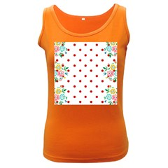 Flower Floral Polka Dot Orange Women s Dark Tank Top by Mariart