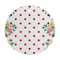 Flower Floral Polka Dot Orange Round Ornament (two Sides) by Mariart