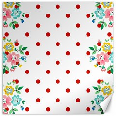 Flower Floral Polka Dot Orange Canvas 20  X 20   by Mariart