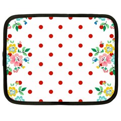 Flower Floral Polka Dot Orange Netbook Case (large) by Mariart