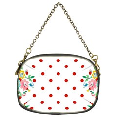 Flower Floral Polka Dot Orange Chain Purses (two Sides)  by Mariart