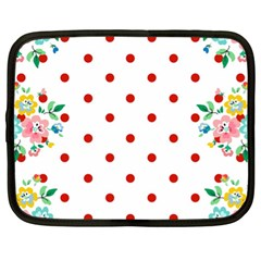 Flower Floral Polka Dot Orange Netbook Case (xl)  by Mariart