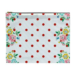 Flower Floral Polka Dot Orange Cosmetic Bag (xl) by Mariart
