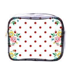 Flower Floral Polka Dot Orange Mini Toiletries Bags by Mariart