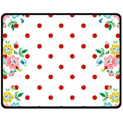 Flower Floral Polka Dot Orange Fleece Blanket (medium)  by Mariart