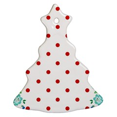 Flower Floral Polka Dot Orange Ornament (christmas Tree)  by Mariart