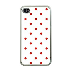 Flower Floral Polka Dot Orange Apple Iphone 4 Case (clear) by Mariart