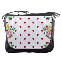 Flower Floral Polka Dot Orange Messenger Bags by Mariart