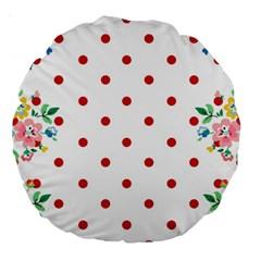 Flower Floral Polka Dot Orange Large 18  Premium Round Cushions by Mariart