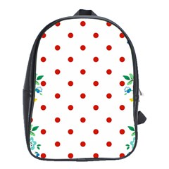 Flower Floral Polka Dot Orange School Bags (xl)  by Mariart