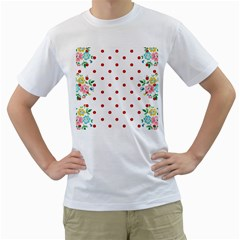 Flower Floral Polka Dot Orange Men s T Shirt (white)  by Mariart