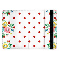 Flower Floral Polka Dot Orange Samsung Galaxy Tab Pro 12 2  Flip Case by Mariart