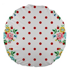 Flower Floral Polka Dot Orange Large 18  Premium Flano Round Cushions by Mariart