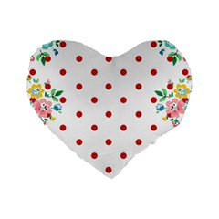 Flower Floral Polka Dot Orange Standard 16  Premium Flano Heart Shape Cushions