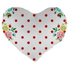 Flower Floral Polka Dot Orange Large 19  Premium Flano Heart Shape Cushions