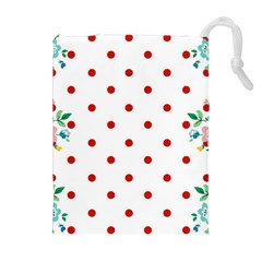 Flower Floral Polka Dot Orange Drawstring Pouches (extra Large) by Mariart