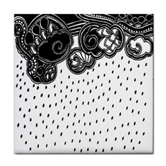 Batik Rain Black Flower Spot Tile Coasters by Mariart