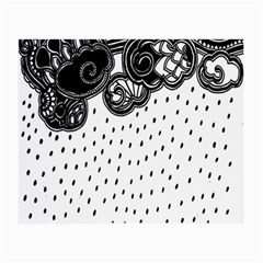 Batik Rain Black Flower Spot Small Glasses Cloth (2 Side) by Mariart