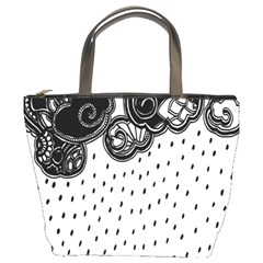 Batik Rain Black Flower Spot Bucket Bags by Mariart