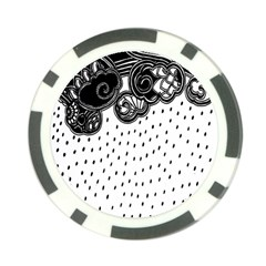 Batik Rain Black Flower Spot Poker Chip Card Guard (10 Pack) by Mariart