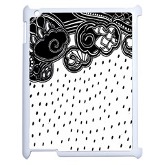 Batik Rain Black Flower Spot Apple Ipad 2 Case (white) by Mariart