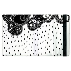 Batik Rain Black Flower Spot Apple Ipad 3/4 Flip Case by Mariart